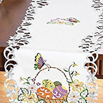 Eggs and Basket Colorful Spring Embroidered Table Linen Runner