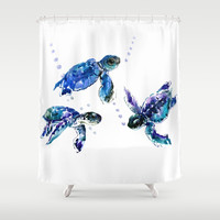 Three Sea Turtles Shower Curtain by sureart