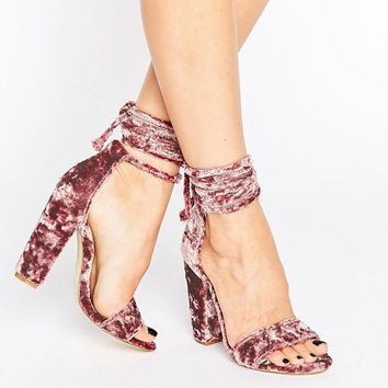 Missguided Crushed Velvet Wrap Around Heeled Sandal at asos.com