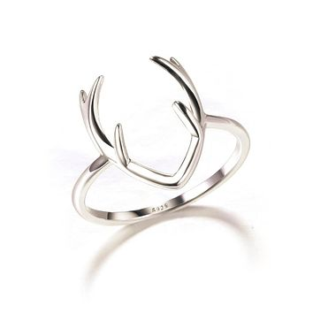 Solid 925 Sterling Sliver Ring Deer Antler Jewelry