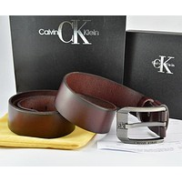Calvin Klein  Men Fashion Smooth Buckle Belt Leather Belt