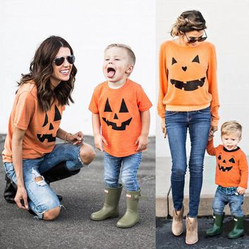 2017 New Top Matching Outfit Mother Daughter Son Halloween Pumpkin Printed T-shirt