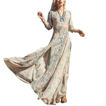 Women V Neck Floral Split Long Maxi Sundress Causal Dress 3/4 Sleeve Beach Bohemian Dresses Vestidos