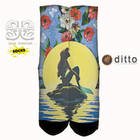 ARIEL MERMAID DREAMING Sock Swagger Custom Crew Socks! Fast Shipping With Free Order Tracking
