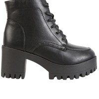 Jerri Platform Tie Up - Black