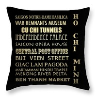 "Ho Chi Minh Throw Pillow 14"" x 14"""