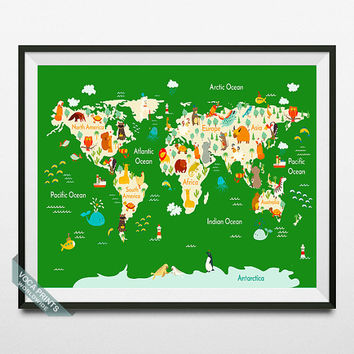 Animal World Map Poster, World Map Print, Animal World Map, Wall Decor, Nursery Decor, Playroom Decor, Kids Bedroom Art, Back To School