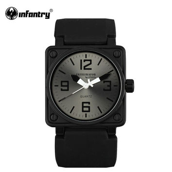 Mens Watches Square Face Quartz Wrist Watches Military Fashion Casual Black Silicone Sports Quartz Watch Hombre