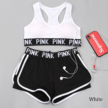 Victoria's Secret Summer Letter Pants Sport with Chest Pad without Steel Bra Two Piece F0790-1 White