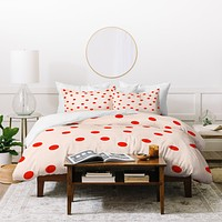 Garima Dhawan Vintage Dots Red Duvet Cover