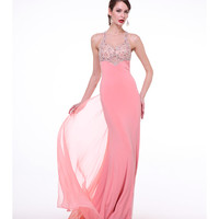 Pink Sheer Embellished Bodice Fitted Dress 2015 Prom Dresses