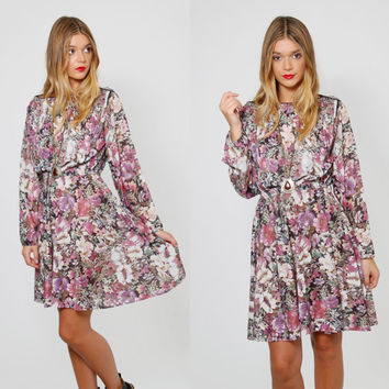 Vintage 70s FLORAL Mini Dress PLEATED Dress Long Sleeve Printed Blouson Dress Flower Print SECRETARY Dress