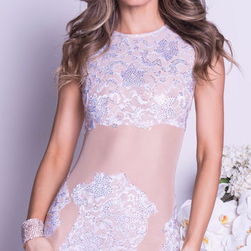 MANA LACE DRESS IN WHITE WITH CRYSTALS