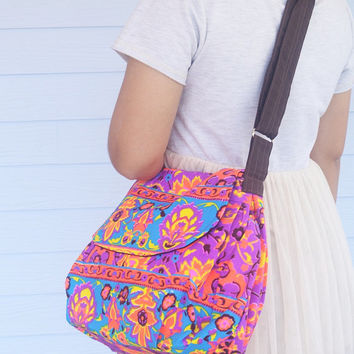 Diaper bag Cross-body Summer bag Neon Printed Purse Hobo Hippie Sling Shoulder Hipster bag, Weekender bag, Backpack School Boho Hobo bag