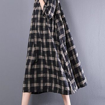 Women's Cotton Long Dress Casual Loose Fitting