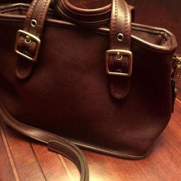 ONETOW Beautiful Vintage Brown Leather Authentic Coach Crossbody Bag with Handles,Made in USA