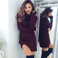 Wine Red Turtleneck Sweaters Dress