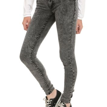 Licensed cool LOVEsick Black Acid Wash Skinny Jeans Pants JUNIORS Sizes 0 & 1 Hot Topic NWT