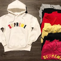 supreme unisex casual top sweater pullover hoodie
