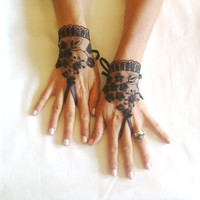 Black tulle lace gloves embroidery bridal  wedding fingerless burlesque body tattoo romantic bridesmaid glove