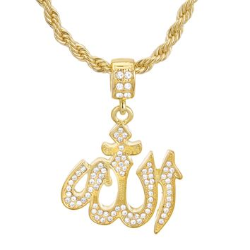 """Jewelry Kay style Men's Gold Plated CZ Iced Allah Sign Pendant 24"""" Rope Chain Necklace HC 1137 G"""