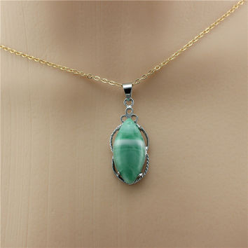 Fashion Women Vintage  Natural Stone Quartz power Necklace Pendant Choker  Turquoise Rope Chain Jewelry necklaces & pendants