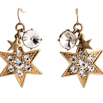 Star Charm Drop Earrings