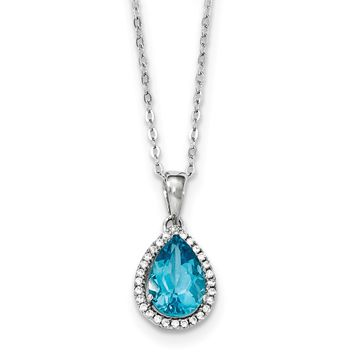 Sterling Silver Sky Blue Topaz Pear Teardrop & CZ Halo Necklace