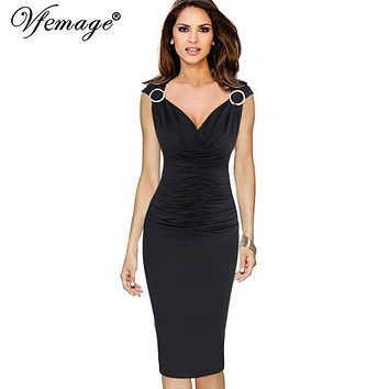 Vfemage Womens Elegant Ruffle Ruched Draped Sexy V-neck Pinup Vintage Work Party Evening Casual Bodycon Fitted Pencil Dress 6297