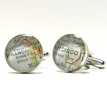 Antique Map Cufflinks San Francisco 1899