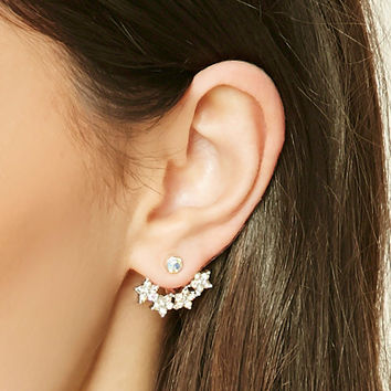 Floral Rhinestone Ear Jackets - Jewelry - Earrings - 1000250467 - Forever 21 EU English