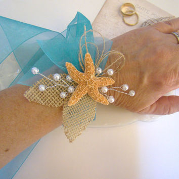 Wrist Corsage, Beach Wedding, Starfish Corsage, Wristlet, Wedding, Tropical Wedding, Destination Wedding, Mother of Bride Groom,