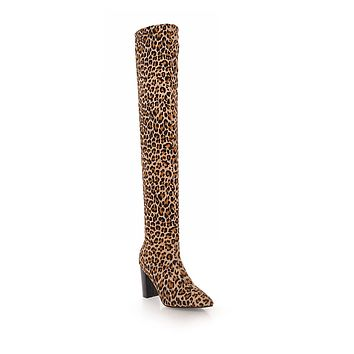 Leopard Print Tall Boots Winter Shoes for Woman 3634