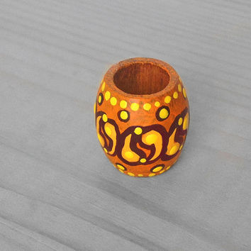 Dreadlock Bead Orange Paisley Dread Bead - Wooden Hair Bead - Wood Hand Painted Bead