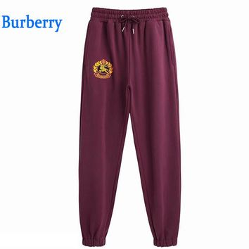 Burberry Popular Women Embroidery Drawstring Sport Stretch Pants Trousers Sweatpants Burgundy I-GQHY-DLSX