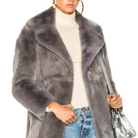 ALBERTA FERRETTI Sunday Rabbit Fur Coat in Melange Grey & Light Blue | FWRD
