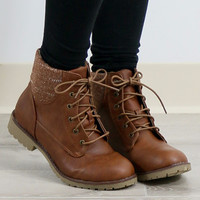 Rolling Hills Camel Lace-Up Combat Boot With Tribal Print Lining