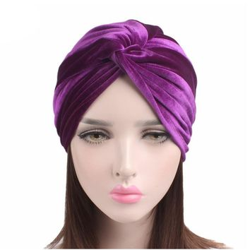 fashion velvet women hats turban caps twist dome caps head wrap Europe style india hats women beanies skullies Chemo Caps