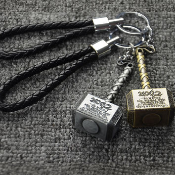 Hot Marvel Thor Hammer The Avengers Mjolnir Figure Car Keychain Car Styling Purse Bag Backpack Key Rings Pendant Car Accessories