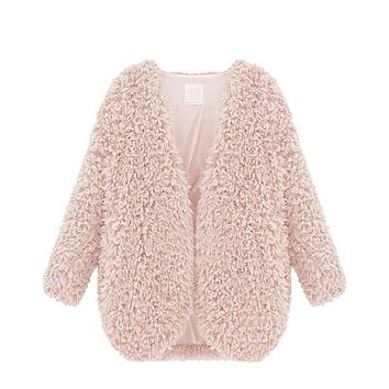 Womens New Warm Fluffy Shaggy Faux Fur Cape Coat Jacket Winter Outwear Cardigan Tops