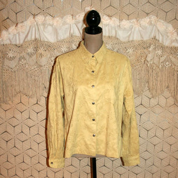 Butter Yellow Blouse Women Shirt Ultra Suede Long Sleeve Button Up Casual Spring Clothing Chamois Chicos XL 2X Womens Plus Size Clothing