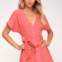 Deena Coral Pink Button-Up Dress