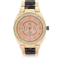 River Island Womens Gold tone medium tortoise shell watch