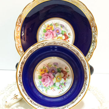 Antique Grosvenor English Tea Cup, Dark Blue, Gold Lace, Hand Painted, Pink, White, Roses, Bone China, 1950s