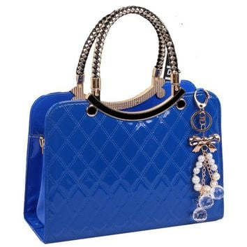 ZHIERNA 2018 New Fashion Bag Cute Tote  Popular Large PU Leather Tote Shoulder Bag Handbag Ladies Messenger chain Plaid