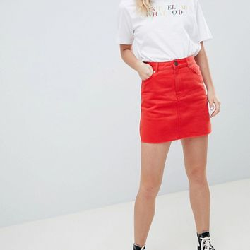 45a6bfc0ce ASOS DESIGN denim mini skirt in red at asos.com