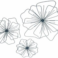 "Gardman 8422 Poppy Wall Art, Three Pieces: Large 17"" Wide, Medium 12"" Wide, Small 8"" Wide"