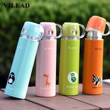 VILEAD Cartoon Thermos Vacuum Flasks Stainless Steel My Bottle Kawaii Portable Handgrip Insulated Hot Water Bottle for Children