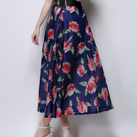 Long Blue Maxi Skirt With Red Rose Prints