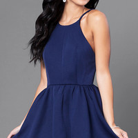Open-Back Navy Blue Short Dress